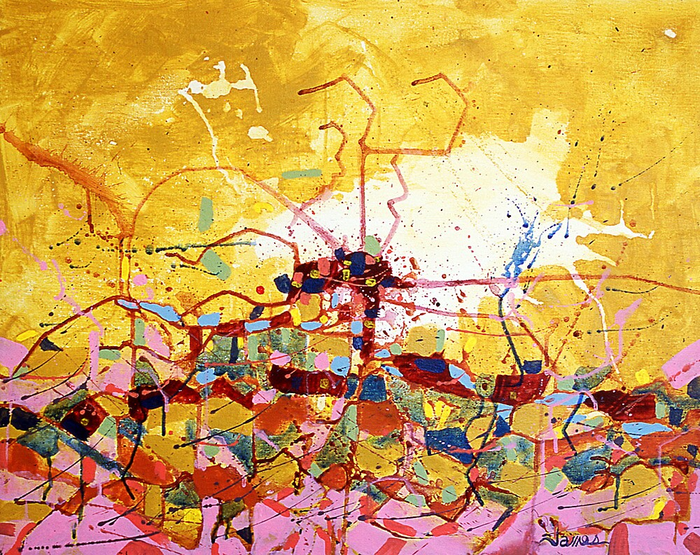 Abstract Map, acrylic painting by James Lewis Hamilton