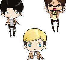 Levi, Erwin, Hanji by tobiejade