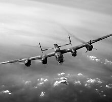Lone Lancaster black and white version by Gary Eason + Flight Artworks