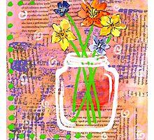 Flower Fields Mason Jar Photographic Print