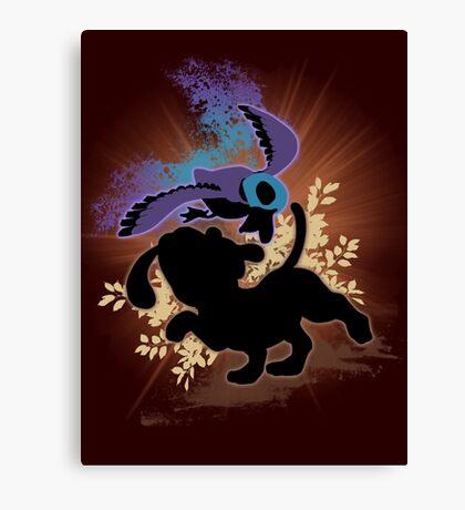 Super Smash Bros. Black Duck Hunt Silhouette Canvas Print