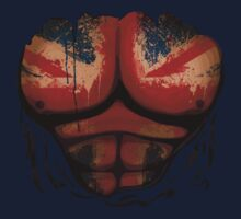 United Kingdom Flag  Body Muscles  Ripped Funny Patriotic T-Shirt by CroDesign