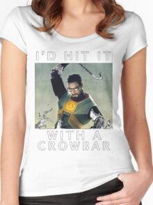 'I'd hit it with a crowbar' Women's Fitted Scoop T-Shirt