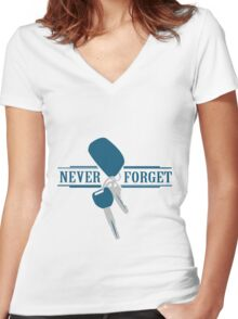 Never forget keys funny nerd geek geeky Women's Fitted V-Neck T-Shirt