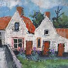 Dutch houses with red doors by aceshirt