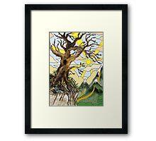 Cliff edge pen drawn tree: the Airbrush version Framed Print