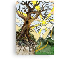 Cliff edge pen drawn tree: the Airbrush version Canvas Print