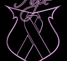 Hope Ribbon Shield Breast Cancer by Sarah  Eldred