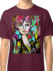 Abstract Colorful Red Head Girl Classic T-Shirt
