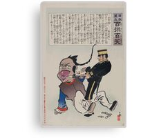 Humorous picture showing a soldier extracting teeth from a Chinese man 003 Canvas Print