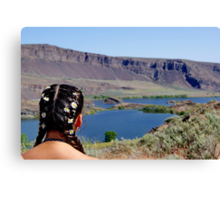 Coulee Lake Wildflowers on her hair Canvas Print