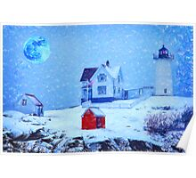 Cape Neddick Light snow pastel Poster