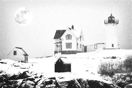 Cape Neddick Light snow  sketch by Adam Asar