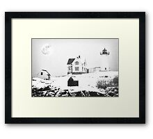 Cape Neddick Light snow  sketch Framed Print