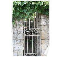 Ornate gate and foliage Poster