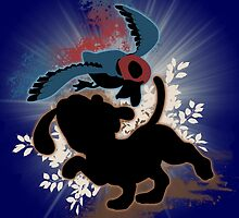 Super Smash Bros. Blue Duck Hunt Dog Silhouette by jewlecho
