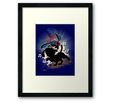 Super Smash Bros. Blue Duck Hunt Dog Silhouette Framed Print