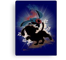 Super Smash Bros. Blue Duck Hunt Dog Silhouette Canvas Print