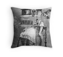 Portable Gallery Attendant. Throw Pillow