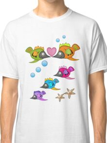 Cute Fish in Love, vector design Classic T-Shirt