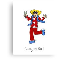 Funky at 50, woman in retro 70's outfit. Canvas Print