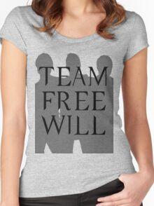 Supernatural Team Free Will Black Silhouette (Sam, Dean & Castiel)  minimalist t-shirt/sticker Women's Fitted Scoop T-Shirt