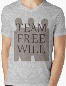 Supernatural Team Free Will Brown Silhouette (Sam, Dean & Castiel) minimalist t-shirt/sticker Mens V-Neck T-Shirt