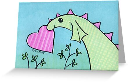 Green Dragon with Pink Valentine's Day Love Heart by Zoe Lathey