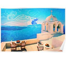 Santorini town Greece art Poster