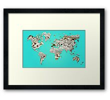 Turquoise Map of The World - World Map for your walls Framed Print