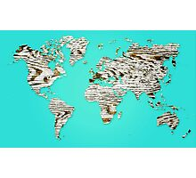 Turquoise Map of The World - World Map for your walls Photographic Print