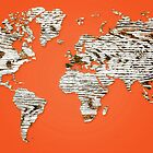 Orange Map of The World - World Map for your walls by DejaVuStudio