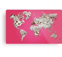 Pink Map of The World - World Map for your walls Metal Print