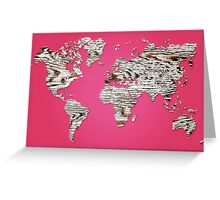 Pink Map of The World - World Map for your walls Greeting Card