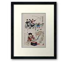Humorous pictures showing the Chinese mode of transportation  four men harnessed to a carriage by their long pigtails and a scene depicting the silk industry 002 Framed Print
