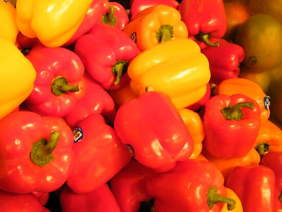 Bell Peppers, Whole Foods, Columbus Circle, New York City by lenspiro