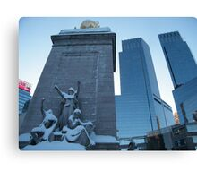 Statue and Time-Warner Building, Columbus Circle, New York City Canvas Print