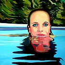 Girl in pool by Guntis Jansons