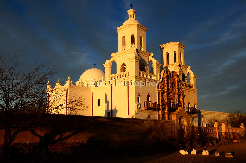 Mission San Xavier Del Bac Last Light by Bob Christopher
