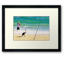 Beach scene with Mr. Hopeful Framed Print