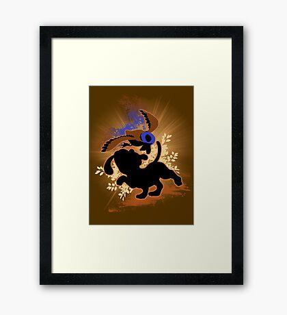 Super Smash Bros. Tan Duck Hunt Dog Silhouette Framed Print