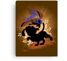 Super Smash Bros. Tan Duck Hunt Dog Silhouette Canvas Print