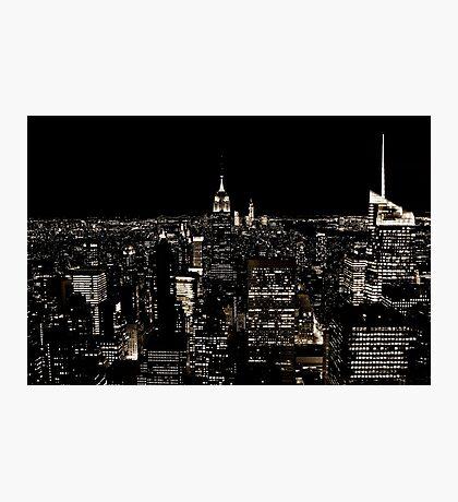 New York City Skyline at Night Photographic Print