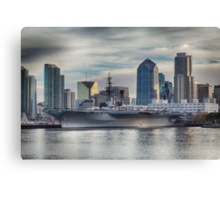 USS Midway Museum and San Diego Skyline Canvas Print