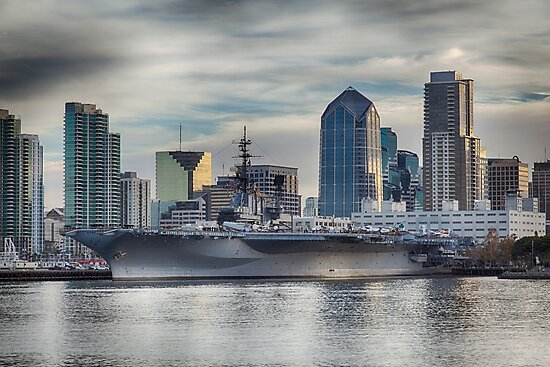 USS Midway Museum and San Diego Skyline by Joshua McDonough Photography