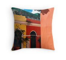 Old San Juan Street Corner Throw Pillow