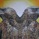 Twin Eagles, 2000 (colour pencil) by Jenny Stone
