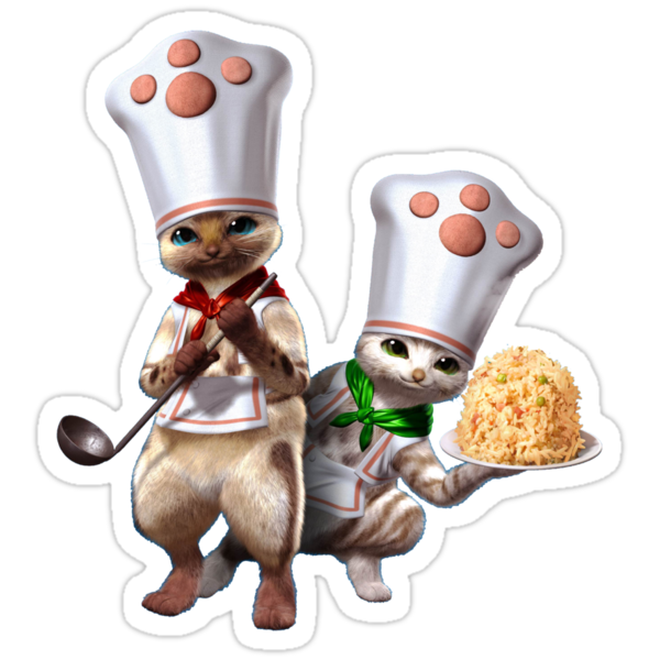 Monster Hunter - Felyne Chefs by leaficia