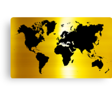 Gold And Black Map of The World - World Map for your walls Canvas Print