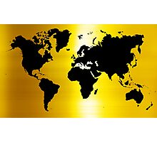 Gold And Black Map of The World - World Map for your walls Photographic Print